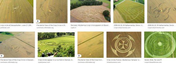 Aerial view modern-day a crop circle in Diessenhstate-of-the-arten